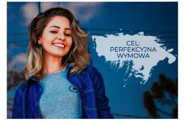 Kobieta na niebieskim tle, z napisem: Cel: perfekcyjna wymowa