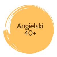 Okrągła plamka z napisem Angielski 40+