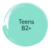 Okrągła plamka z napisem: Teens B2+