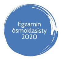 Okrągła plamka z napisem Egzamin ósmoklasisty 2020