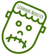Twarz potwora z napisem Grammar monster